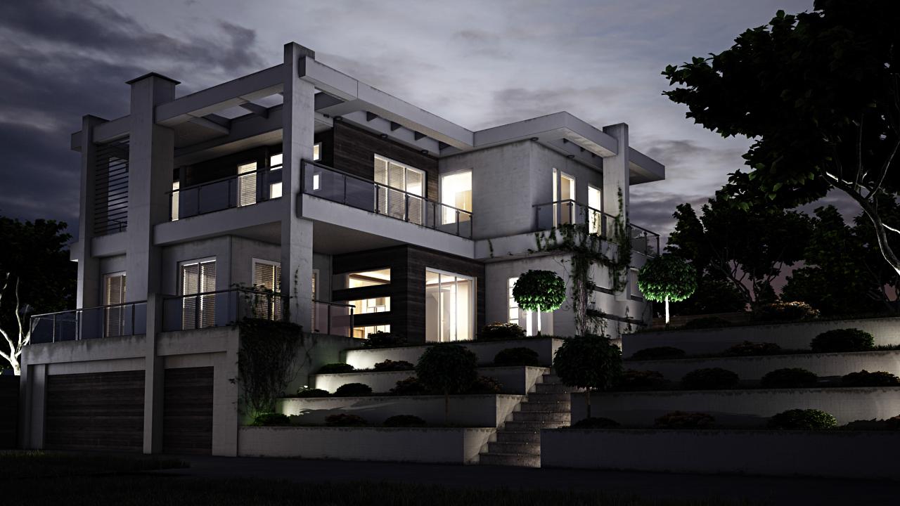 3d Architekturvisualisierung Lichtstudie Gebäude 1 bei Nacht