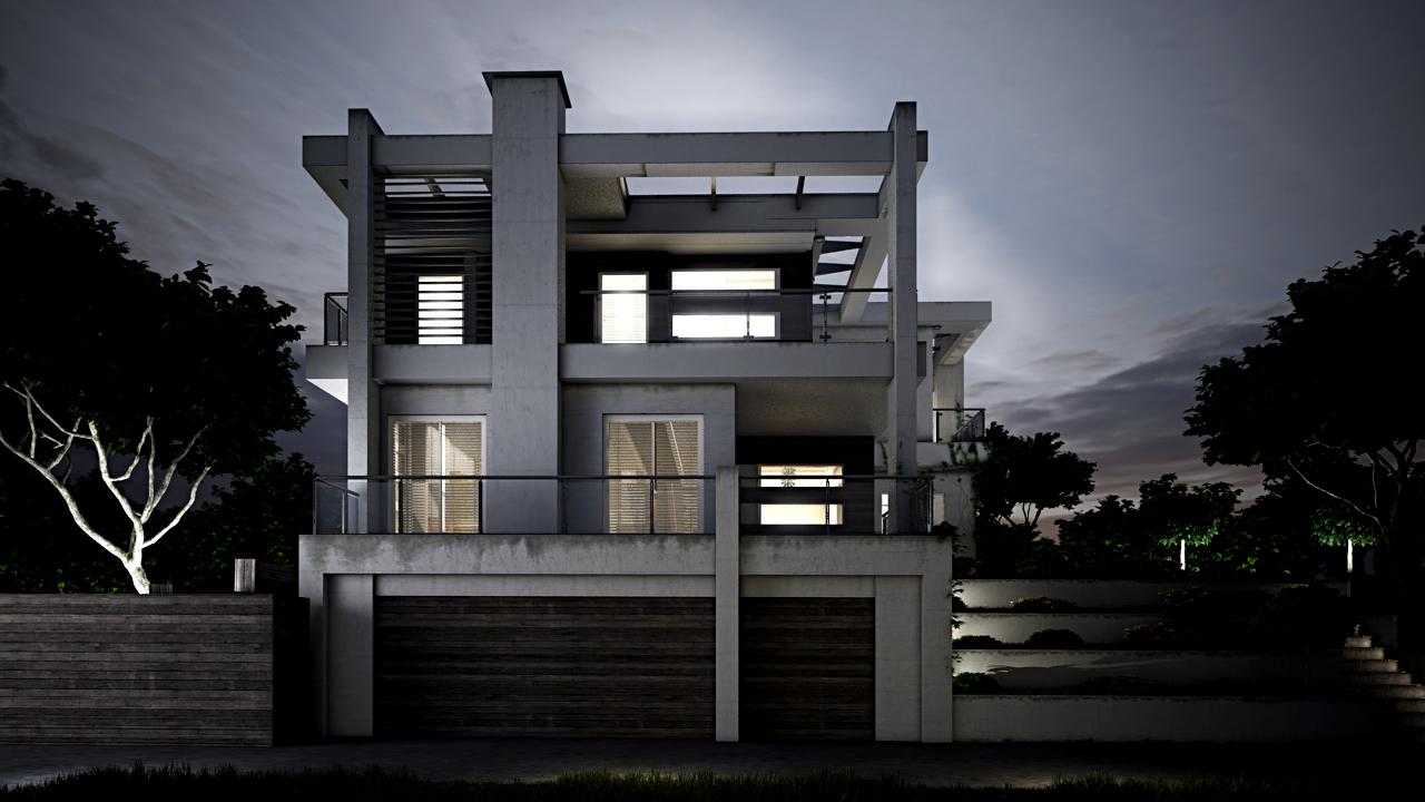 3D Visualisierung Architektur Nachtstudie