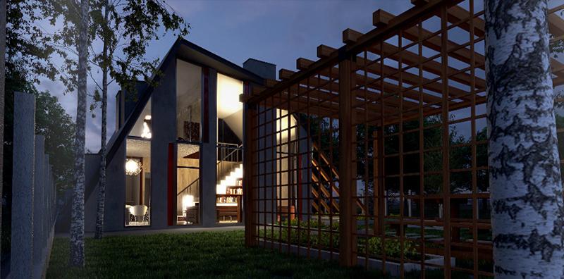 3D Visualisierung Carport Nacht