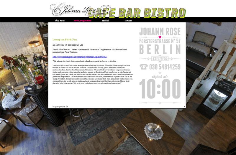 Webseite des Berliner Restaurants Johann Rose