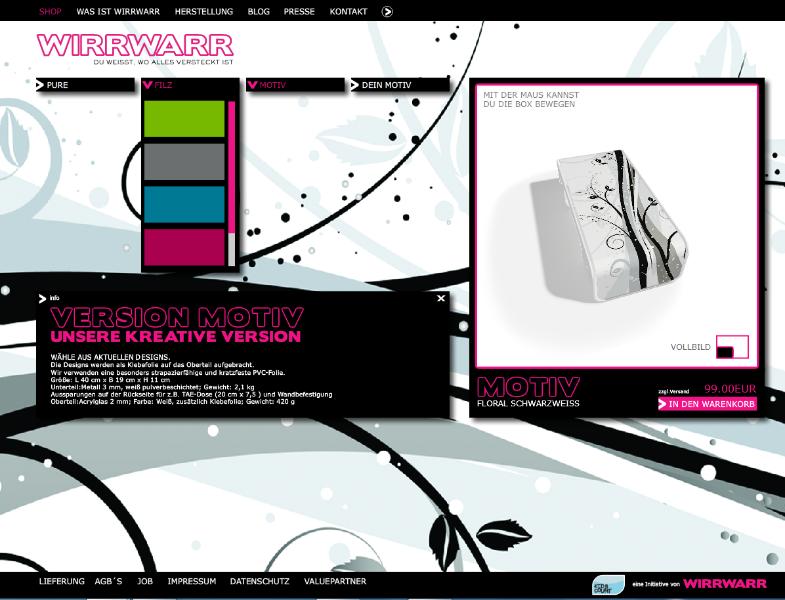 Webseite der Wirr warr box
