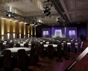 Veranstaltungsvisualisierung Hilton Galasetup