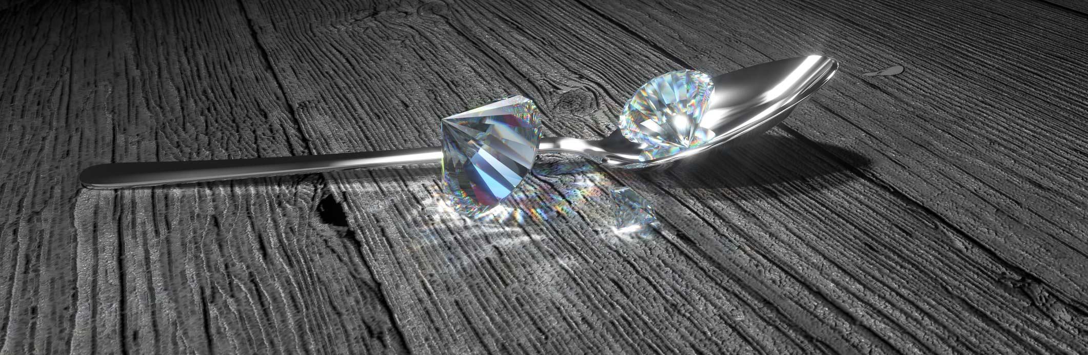 Loeffel und Diamanten 3d Logovisualisierung