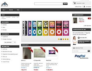 Webseite eines Kunstversandhandels