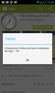 Fehlercode -24 Android