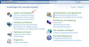 Zugang zur Systemsteuerung in Windows 7